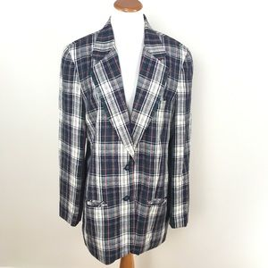 Vtg Brooks Brothers Womens Plaid Blazer Jacket